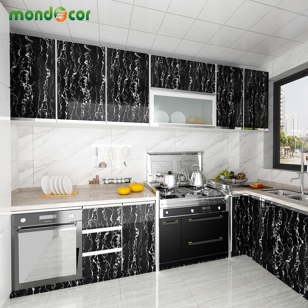 Self Adhesive Ceramic Tile Wall Stickers Waterproof Floor Wallpapers Art Floor Sticker Kitchen Decor Film Ground Contact Paper