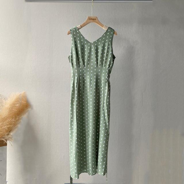 Lizkova Summer Green Dress Women 2021 V-neck Tunic Tank Vestido de Mujer Plus Size Sleeveless Dot Robe 4