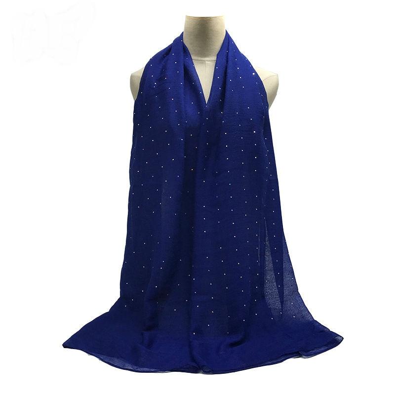 Fashion Viscose Hijabs Scarf Lady Elegant Headband Plain Glitter Sequins Muslim Hijab Women Cotton Islam Scarf Soft Muffler 1pc