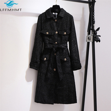 Tweed Coat Blends Korea-Style 150kg Women Outerwear Wool Female Elegant Long Winter Large-Size
