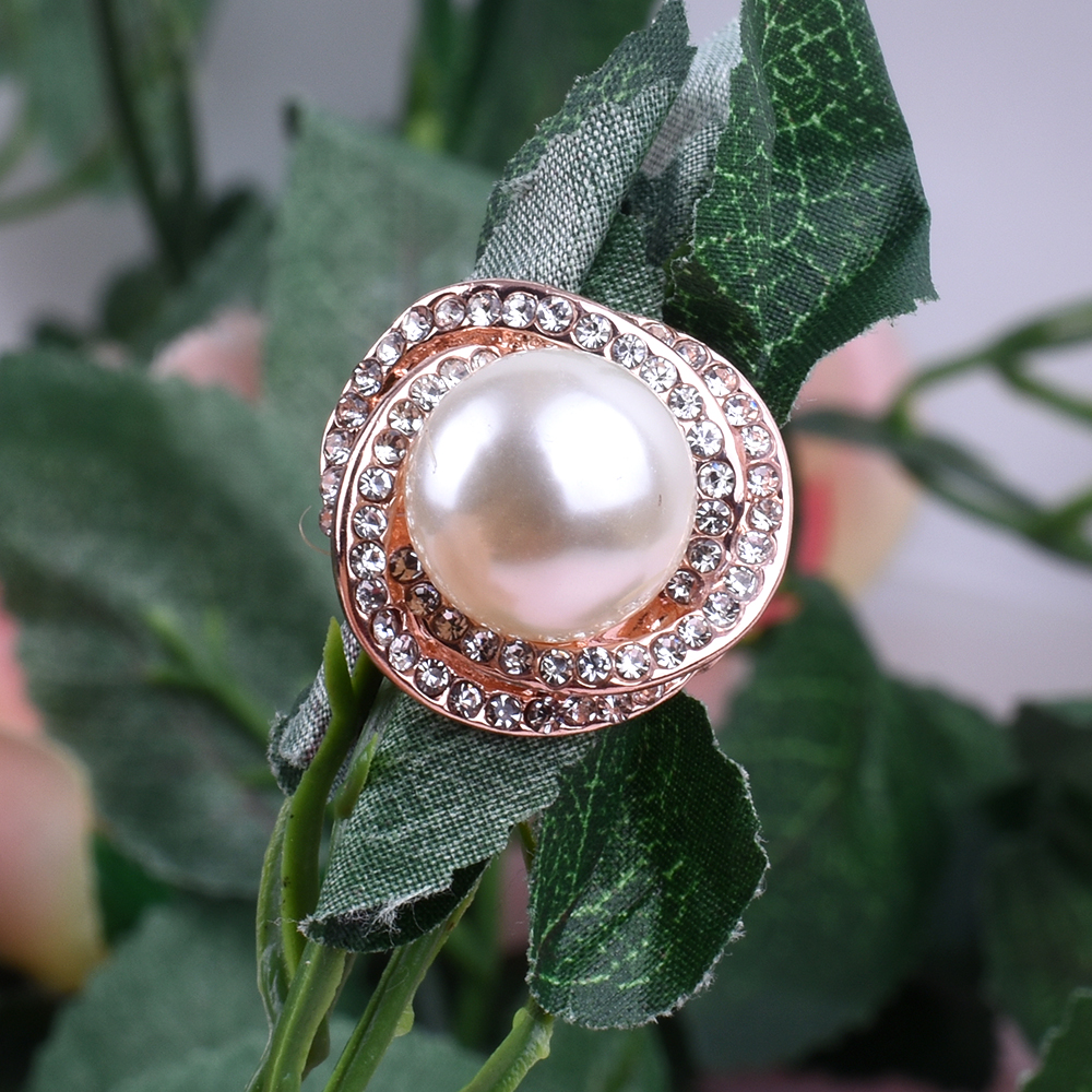Fashion Adjustable Rings Rose Flower Pearl Rings Womens Gold Silver Rose wedding Rings Party Jewelry women accessories big rings