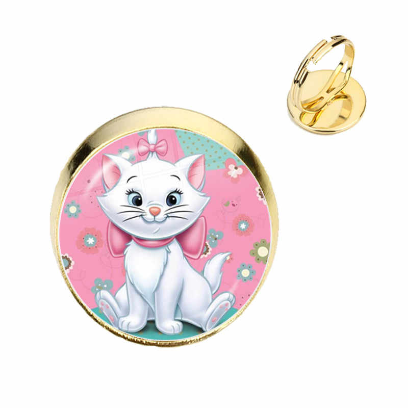 Anime Cartoon Cat Glass Cabochon Rings The Aristocats Cute Kids Jewelry Marie Cat Fashion Ring For Women Girls Kids Gift
