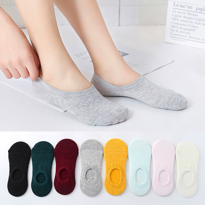 10 Pieces = 5 Pairs Women Invisible Solid Color Socks Slippers Ladies Polyester Cotton Non-slip Silicone Ankle Socks Skarpetki