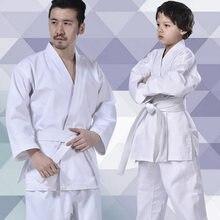 Profissional branco karatê uniforme com cinto taekwondo terno para crianças adultas masculino kung fu formação ginásio roupas