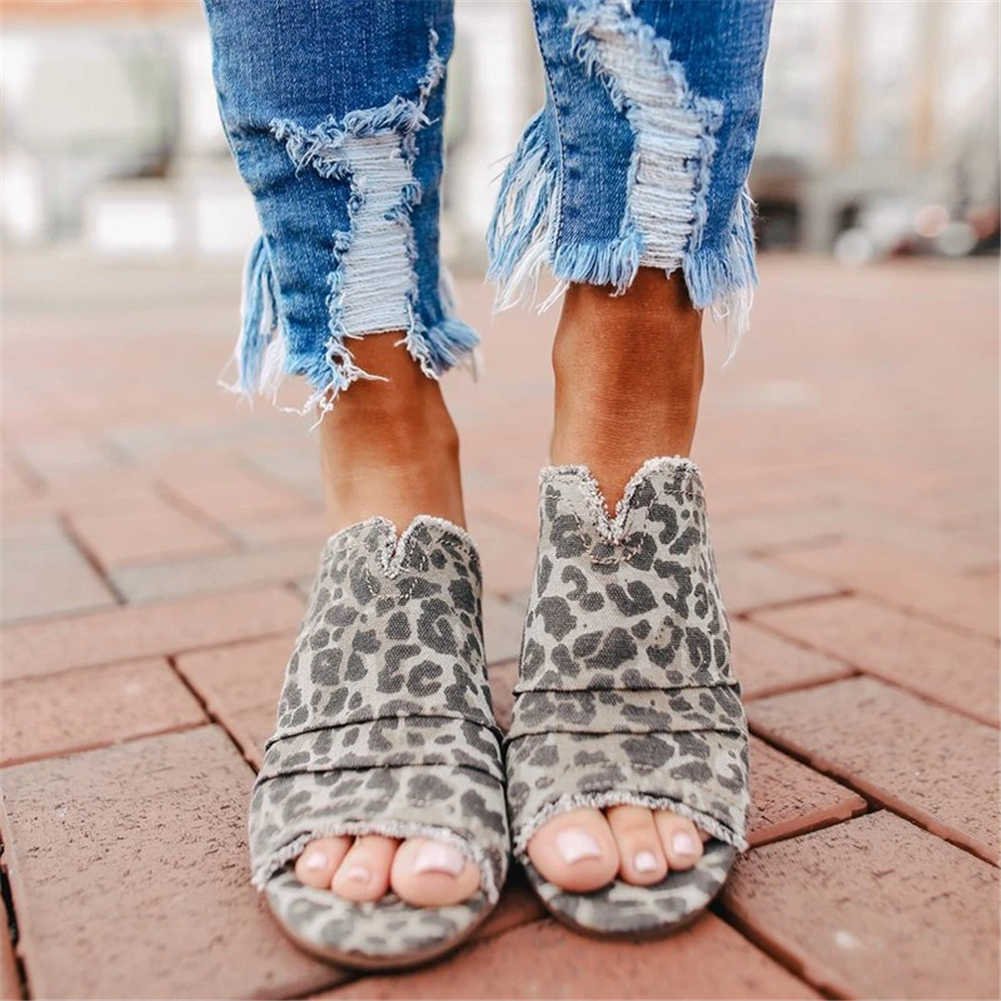 Free shipping In stock INS HOT Plus Size 43 Chunky Heels Cloth Leopard Summer Sandal Mules Slippers Women Shoes Woman