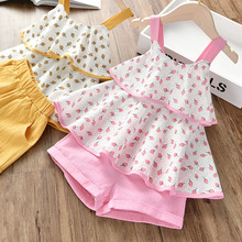 Girls Clothes Suit Summer Floral Pink Girl Toddler Coat + Shorts 2 Piece Baby Clothing
