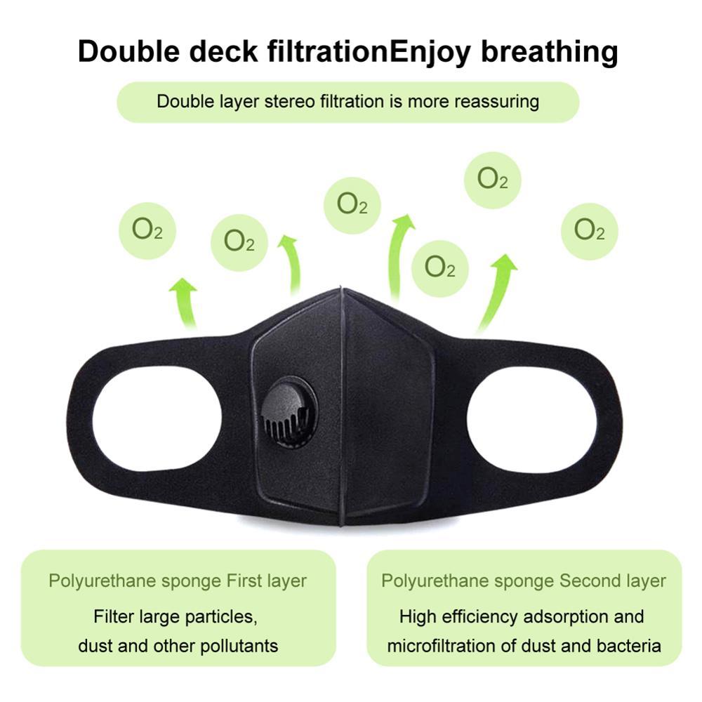 Ventes au comptant 50 pièces masques réutilisables bactériens Anti-grippe contre les gouttelettes avec Valve d'air - 3