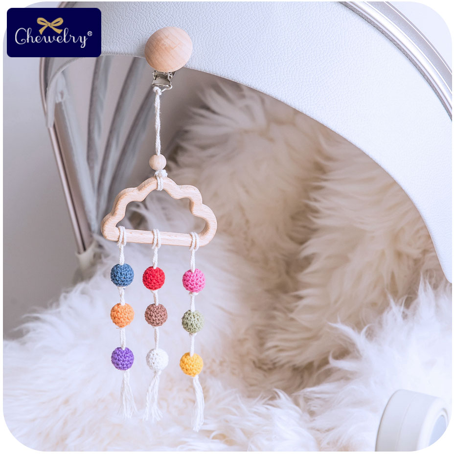 1pc Baby Teether Beech Wood Cloud Bed Bell Crochet Beads Dummy Pacifier Chains  Clip DIY Teether Bed Bell For Kids Products TOY