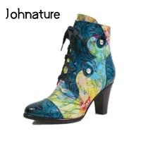 Johnature peint à la main en cuir véritable bottines femmes chaussures bout pointu talon carré 2020 nouveau hiver croisé femmes bottes
