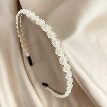 Simulazione Vintage perla fascia per le donne ragazze fiore copricapo cerchio per capelli mujer fascia per capelli accessori per capelli coreani gioielli
