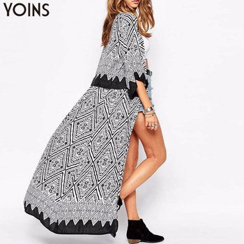 Boho YOINS automne 2019 nouveauté femmes Blouses hauts ample demi manches imprimé Long Kimono Cardigan Blusas plage mince survêtement
