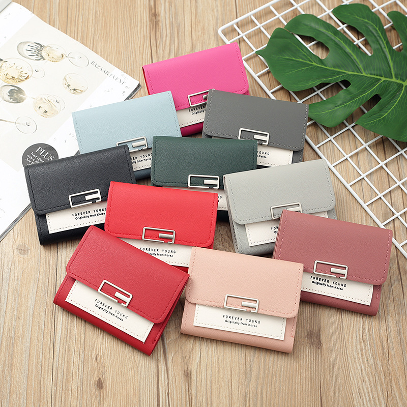 Women Wallet Female 2020 New Ultra-Thin Korean-Style Coin Purse Student Mini Sweet Cute Short Lady's Foreign Trade Card Case