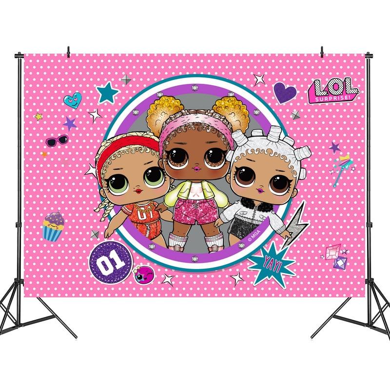 125*80cm Lol Surprise Party Birthday Background Cloth House Decoration Theme Dress Cloth Dolls Figure Best Gift