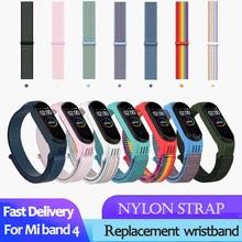 Нейлоновый ремешок для xiaomi mi band 4 ремешок браслет NFC умные часы замена xiaomi mi band 3 цветной Ремешок Браслет против потери