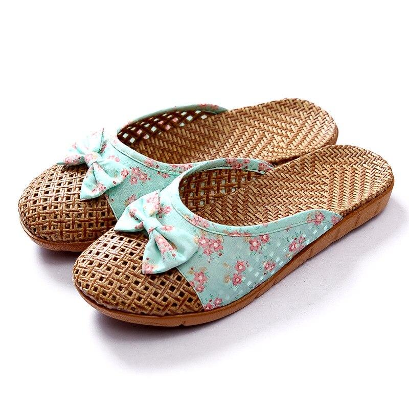 Floral Printed Women Men Anti-slip Linen Home Indoor Summer Open Toe Flats Shoes Slippers