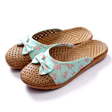 Floral Printed Women Men Anti-slip Linen Home Indoor Summer Open Toe Flats Shoes Slippers