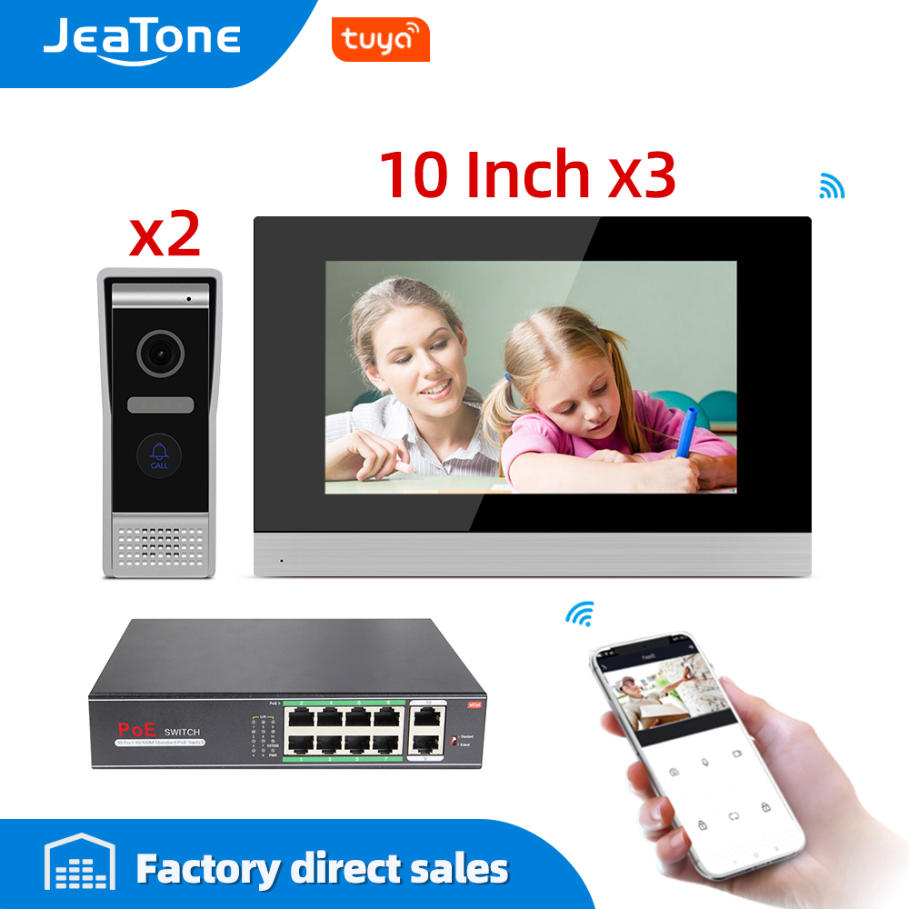 10 Inch Touch Screen WiFi IP Video Door Phone Video Intercom 1.0 MP 2 Doors Home Access Control System Mobile App Remote Unlock