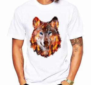 Męska koszulka nadruk wilka ucieczka z wzgórza ogień zabawna koszulka męska lato nowy biały casual homme tshirt wilk nadruk drzewa 5xl
