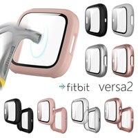 Funda metálica para reloj inteligente Fitbit Versa 2, cristal templado mate, 9H, funda completa, ultrafina