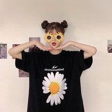 2021 Summer New Fashion Daisy Print Women Tshirt Loose Tops Casual Short Sleeve T-shirt Tees Plus Size O-Neck Clothes Female