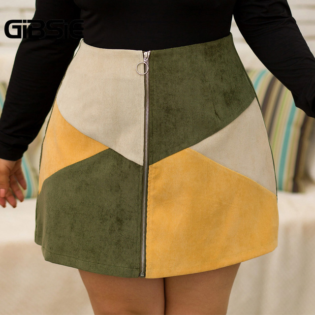 GIBSIE Autumn winter Fashion Color Block Women Skirt Plus Size O-ring Zipper High Waist Skirts Female Casual Office A-line Skirt 4
