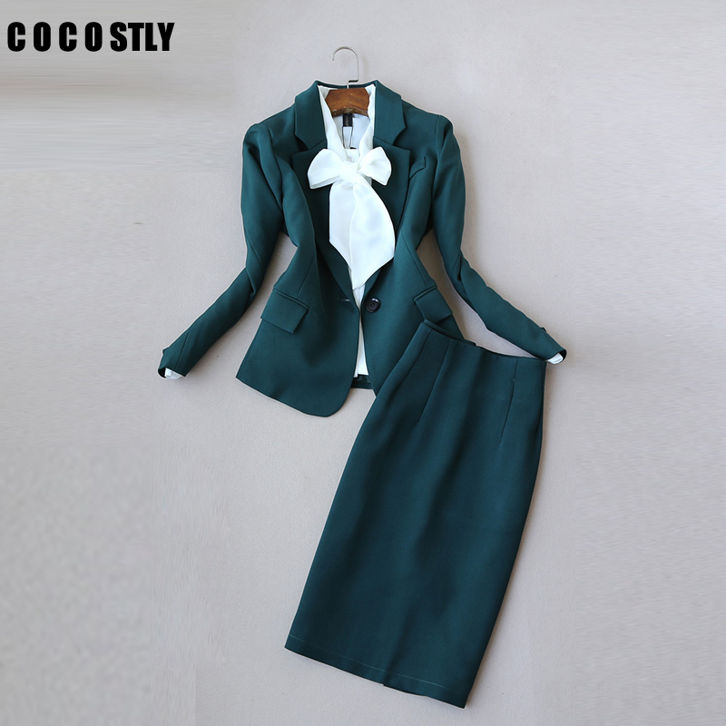 Office Clothes Autumn Women Skirt Suits Egelant Office Lady Blazer And Skirt Set Formal Wear Two Piece Skirt Set Uniform Green