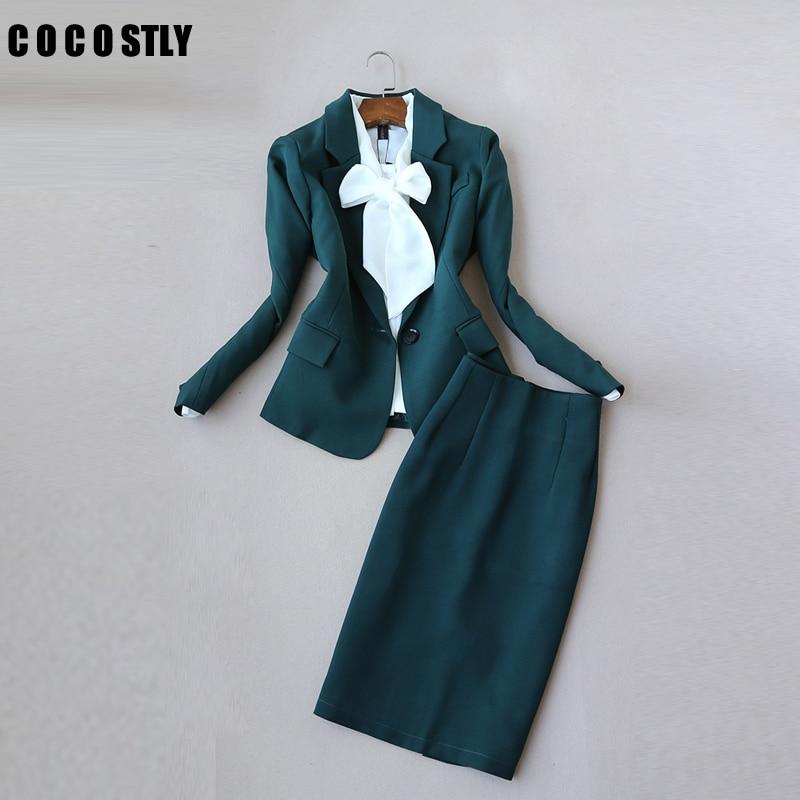 Office Clothes Autumn Women Skirt Suits Egelant Office Lady Blazer And Skirt Set Formal Wear Two Piece Skirt Set Uniform Green