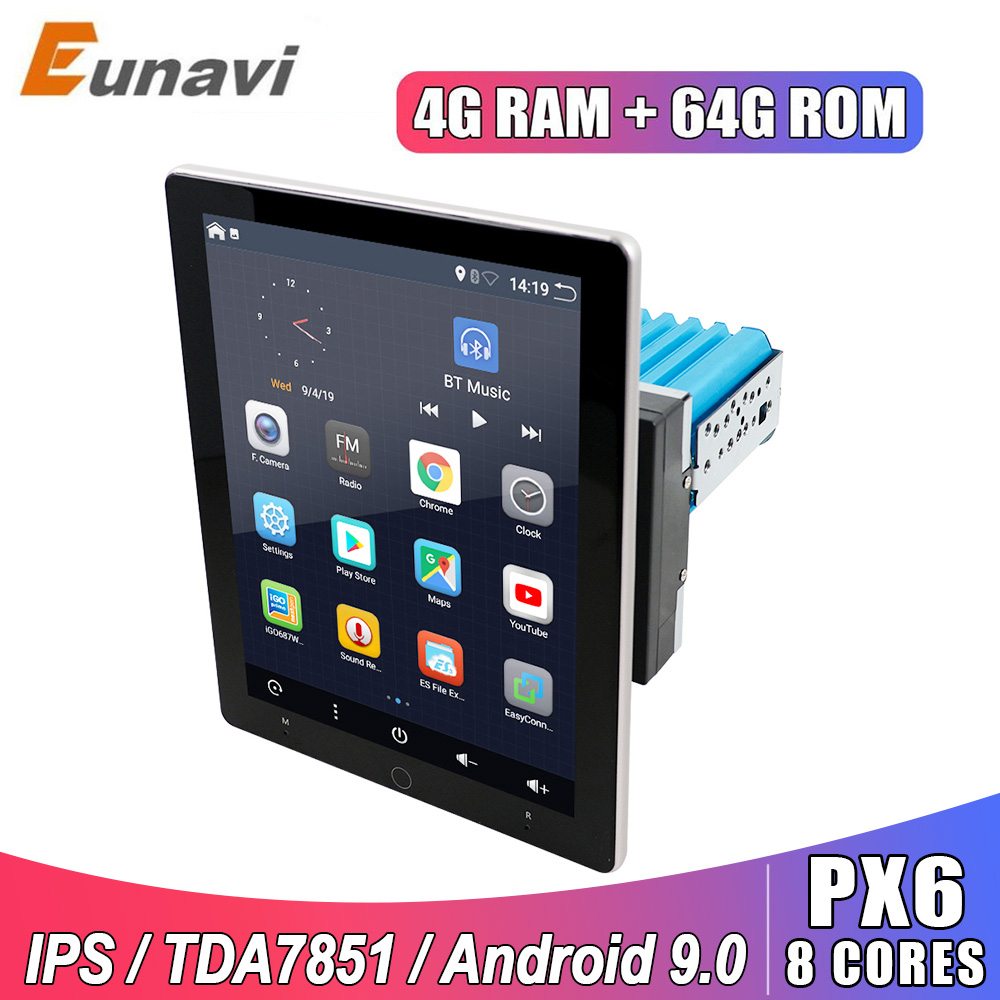 Eunavi 2 Din Android 9 Car Multimedia Player Universal Radio Stereo GPS Navigation TDA7851 IPS Electric Rotation Screen 4G 64GB