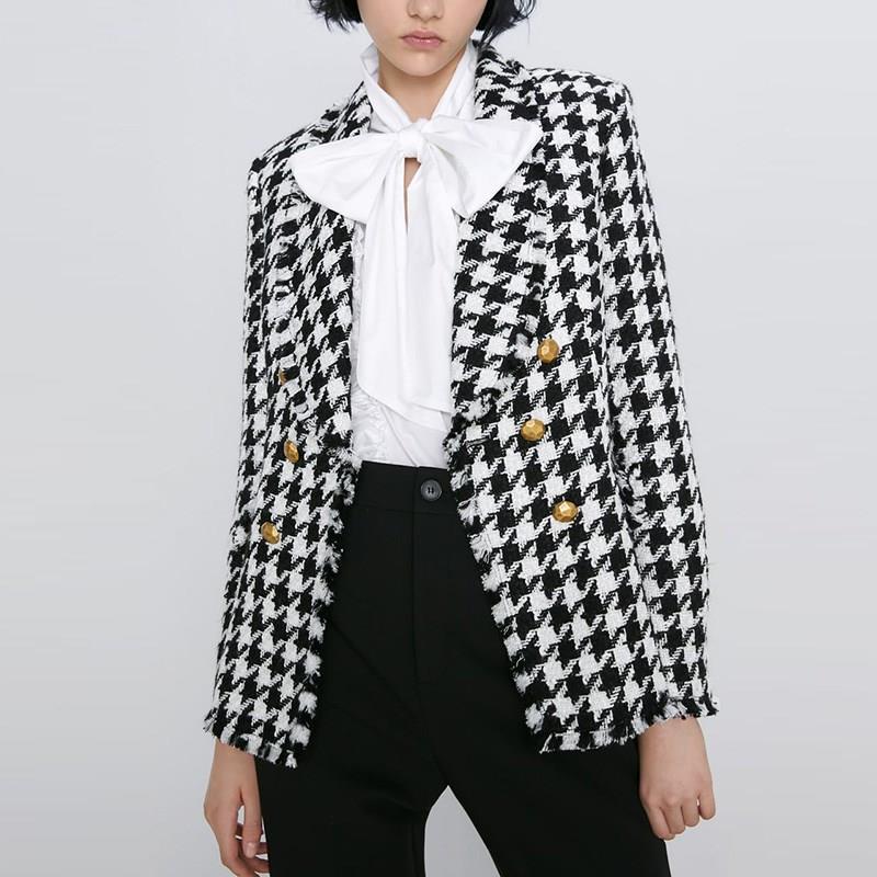 Vintage Double Breasted Houndstooth Tweed Blazers Women Coat 2019 Tassel Plaid Ladies Casual Outerwear Casaco Femme
