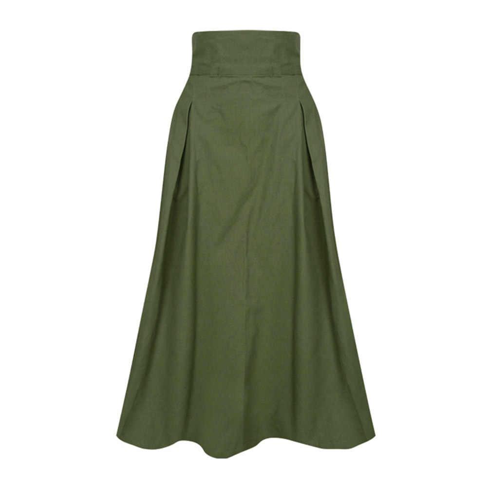 Saia maxi longa feminina, exército verde 2020 saia de linho para mulheres de escritório coreano elegante casual vintage saias