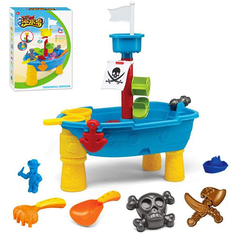 Kids Sand Water Play Table Pirate Ship Inside Outdoor Seaside Beach Garden Sandpit Sandglass Toy