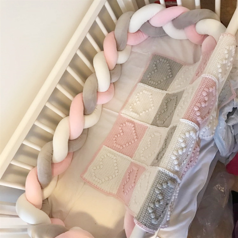 1M/2M/3M Baby Bed Bumper Braid Pillow Cushion Protector Edge Newborn Crib Coil Bumper