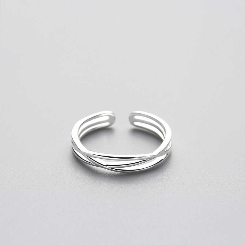 Minimalistische Geometrische Twist Lijn Verstelbare Ring Authentieke 925 Sterling Zilveren Fijne Sieraden Voor Vrouwen Accessoires Gift