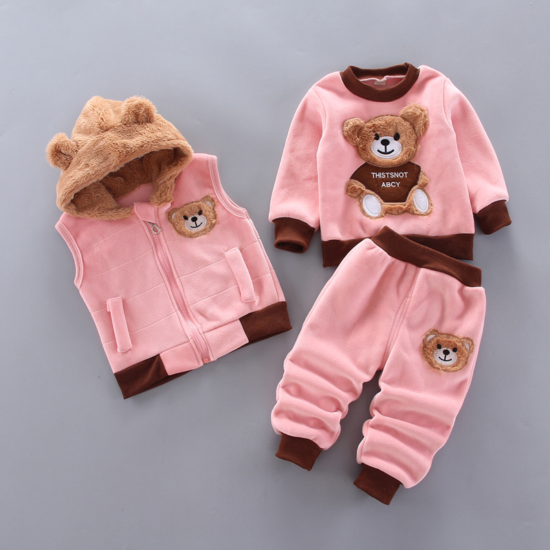 Baby Boys And Girls Clothing Set Tricken Fleece Children Hooded Outerwear Tops Pants 3PCS Outfits Kids Toddler Warm Costume Suit 2