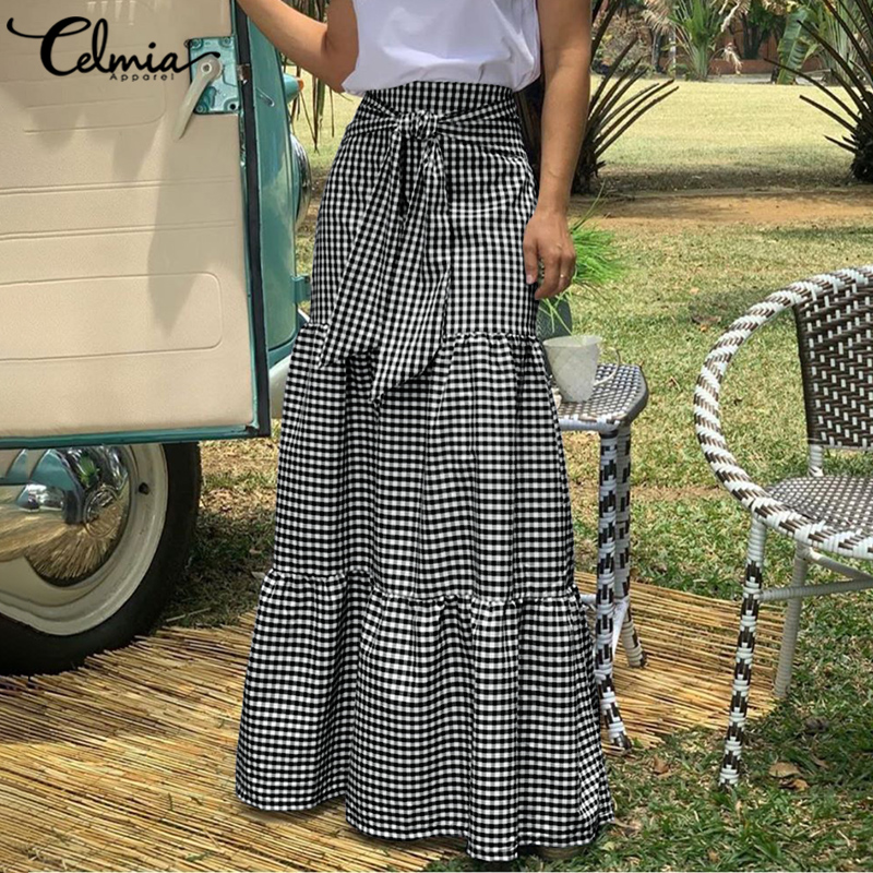 5XL Celmia Women Maxi Skirts 2021 Fashion High Waist Vintage Plaid Long Skirts Casual Loose Belted Pleated Party Skirt Plus Size