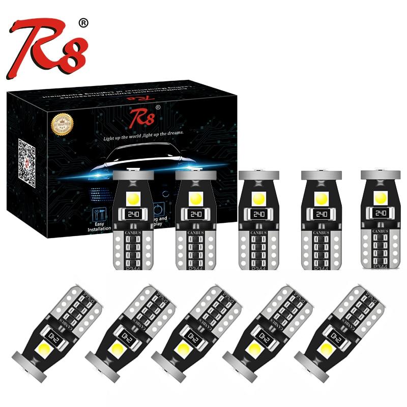 10светодиодный T10 LED W5W светодиодный Автомобильные дневные ходовые огни 3030 3SMD 194 168, лампы для чтения в салоне, Canbus 12 В 6500k, белый, желтый, без пол...