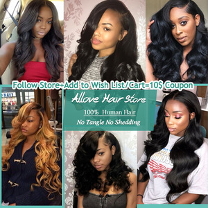 Image 5 - Brazilian Body Wave Bundles With Closure Allove 4X4 5X5 Closure With Bundles 100% Human Hair Bundles with Closure Non Remy