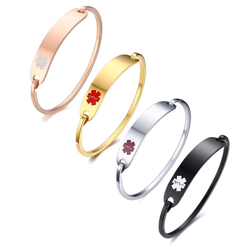 Vnox Free Engraving Stainless Steel Medical Alert ID Bangle Personalized Bracelet for Men Women/Gold Color 2.36″/2.55″