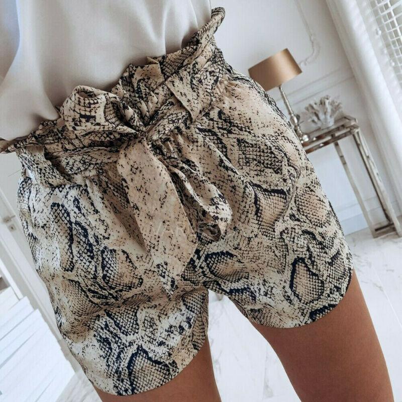 Women Fashion Snake Drawstring Casual Trousers High Waist Tie Belt Hot Shorts Bottoms Summer