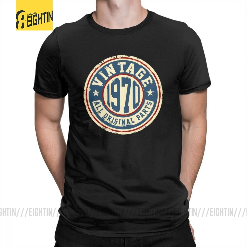 <font><b>Vintage</b></font> <font><b>1970</b></font> All Original Parts T Shirt for Men <font><b>Vintage</b></font> Clothing Tees Short Sleeve Round Neck T-Shirts Summer Style 100% Cotton image