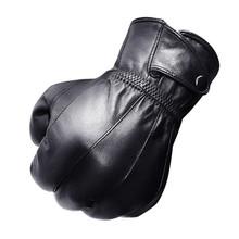 Sprzedaż hurtowa moda męska oryginalne skórzane rękawiczki gruby pluszowy zimowy ciepły kożuch rękawiczki do jazdy rękawiczki czarny brązowy tanie tanio DANCING WINGS Dla dorosłych Prawdziwej skóry Stałe Nadgarstek CJ-17