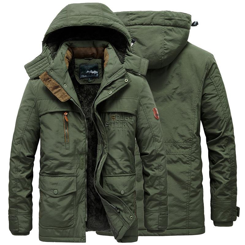 2021 Winter Men Jacket Warm Thick Casual Men's Fur Collar Windproof Parkas Wool Liner Coat Male Hooded Outwear Jackets Plus 6XL