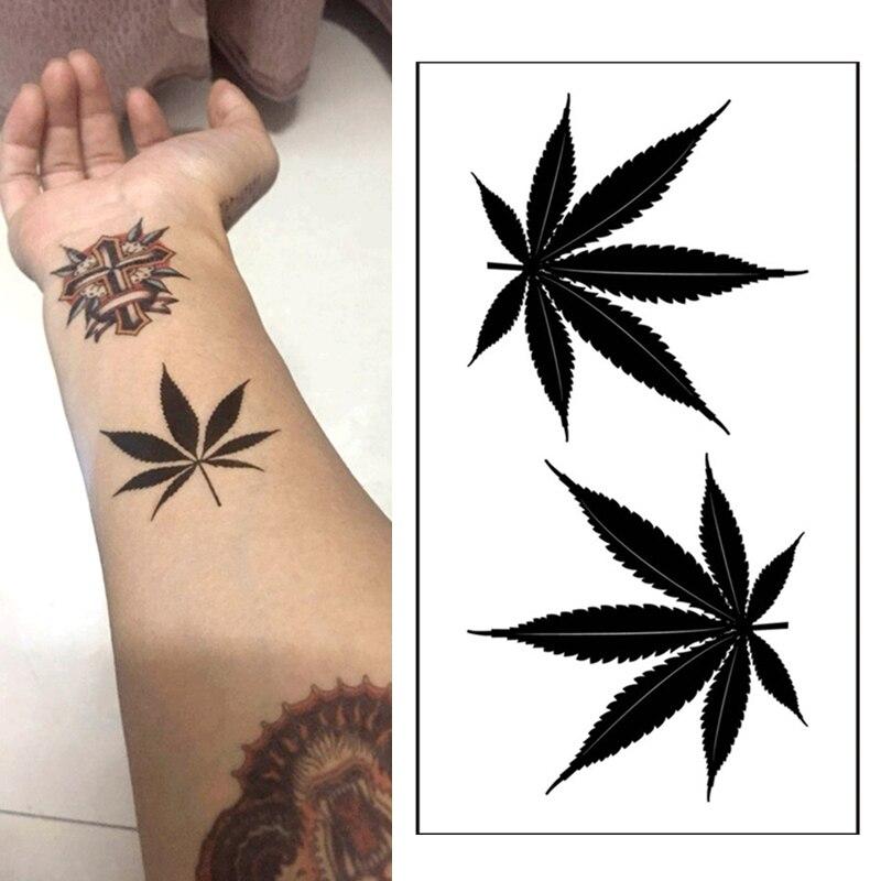 1pcs  Waterproof Tattoo Temporary Sticker Black Clover Maple Leaf Tattoo Glitter
