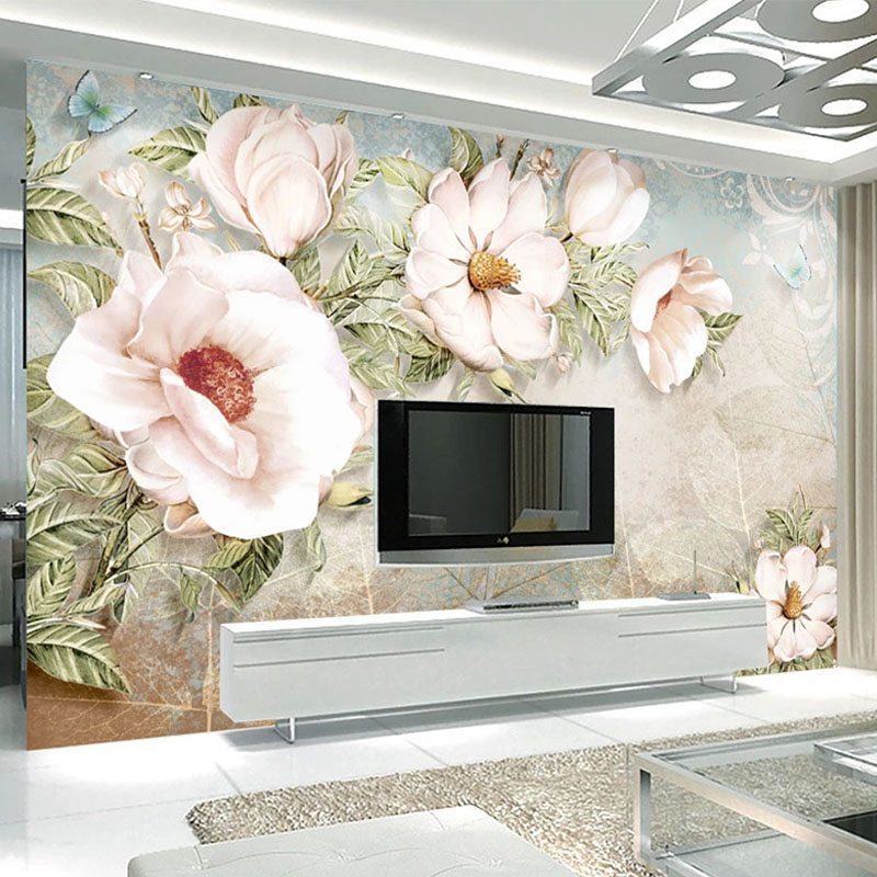 European Style 3D Vintage Oil Painting Flower Wallpaper Living Room TV Sofa Bedroom Home Decor Background Wall Stickers Frescoes