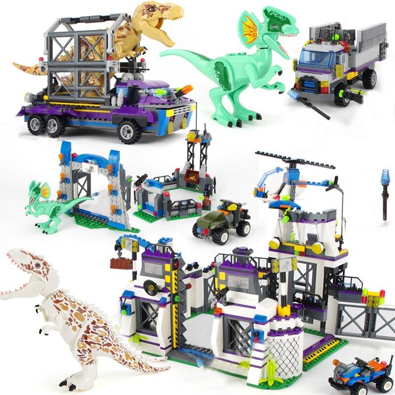 Legoes Jurassic World Sets 4 Park 3 Dinosaurs Toys T-Rex Blocks Building Bricks Child Boy Kids Owen Pteranodon Toys