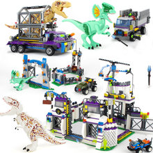Legoes Jurassic World Sets 4 park 3 Dinosaurs Toys T-Rex Blocks Building Bricks Child Boy Kids Owen Pteranodon Toys(China)