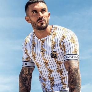 Повседневная мужская футболка в полоску, летняя мужская футболка, модные топы, уличная Мужская футболка в стиле хип-хоп, брендовая одежда, м...