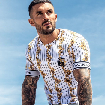 white\gold casual stripe summer trendy mens tshirt