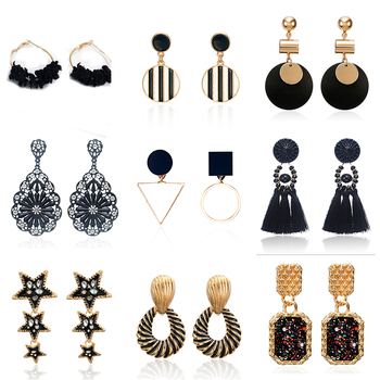 Earrings For Women Vintage 2020 New Fashion Black Earrings Free Shipping India Dangle Darrings Lot Vintage image