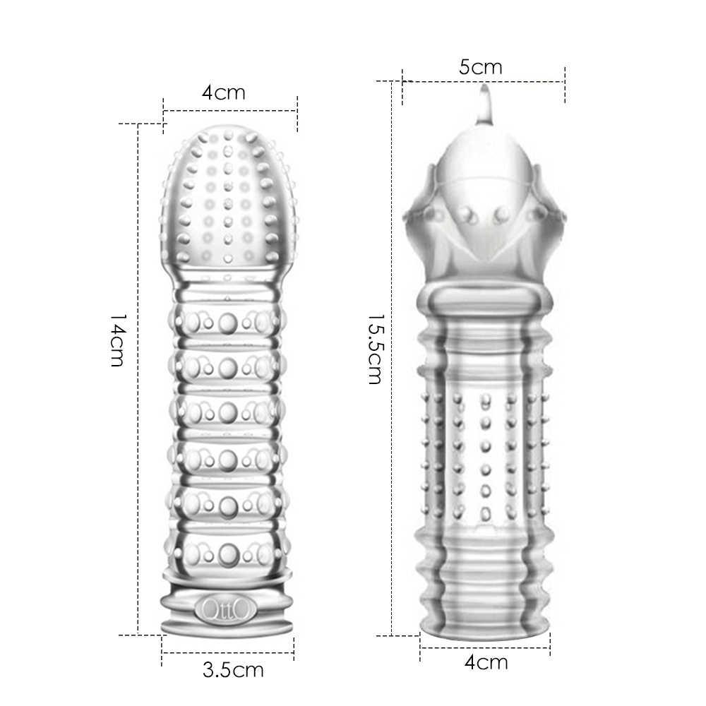 Penis Lengan Dapat Digunakan Kembali Spike Kondom untuk Pria Penis Extender Ayam Lengan Pria Kesucian Kandang Perangkat Kontol Seks Mainan COCK Penis lengan